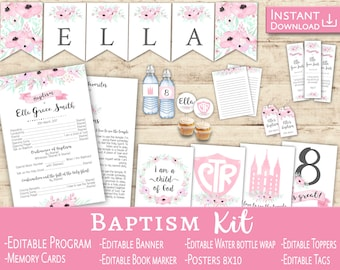 Baptism Program Girl Kit Editable PDF LDS Baptism Program Toppers Tags Banner Flags Book markers Water Bottle Labels Floral Pink LDS baptism
