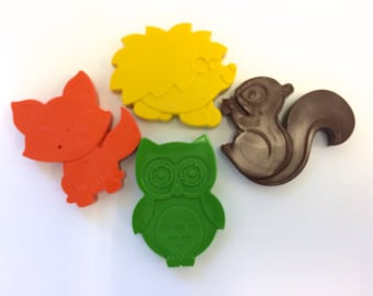 4 Woodland Forest Animal Crayons Party Favors - Squirrel - Hedgehog -Fox - Owl