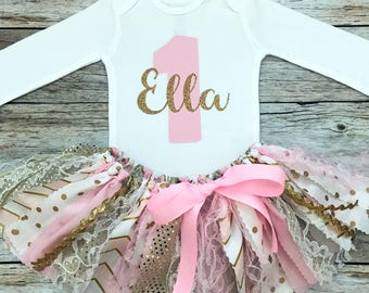 Pink and Gold Sparkly Birthday Outfit with Name, Pink and Gold Fabric Tutu, Baby Girl Pink and Gold First Birthday Outfit