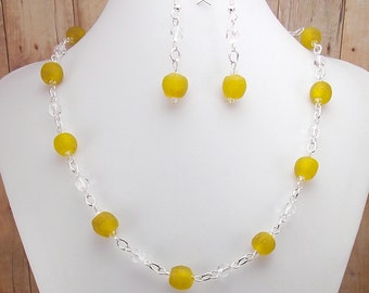 African Glass Bead Necklace and Earring Set - Powder Glass - Yellow -Lemon Drop - Canary - Ethnic