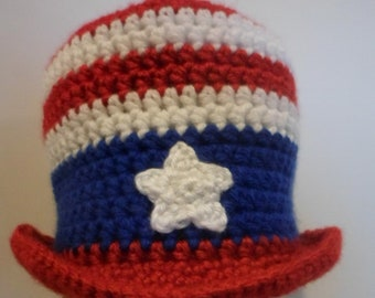 Crocheted (Infant-Adult) Fourth of July Top Hat, Red White and Blue Hat, 4th of July Hat Photo Prop