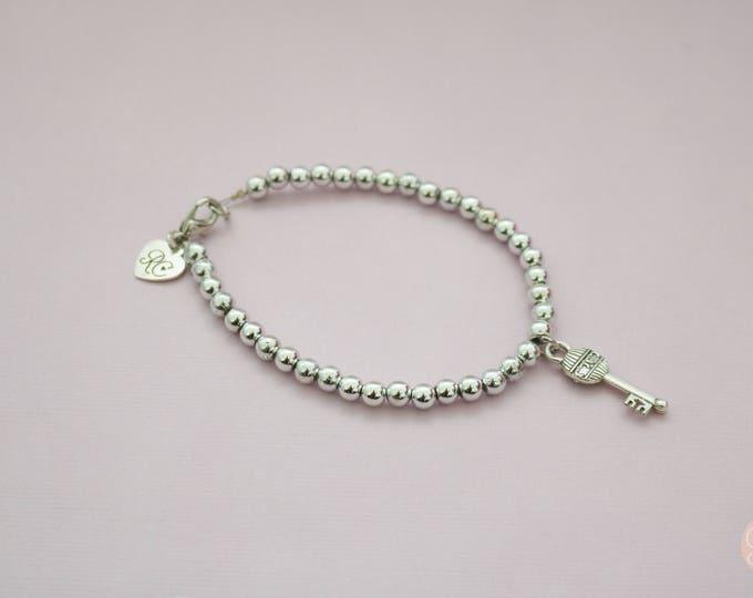 Silver Beaded Key Bracelet | 21st Gift | Housewarming gift.