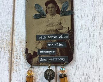Altered Assemblage Necklace Genuine Tintype Fairy Child for wear or display