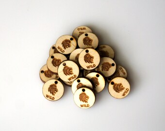 Circle Tags Custom Tags Wood Tags Personalized Small Tags Small Wooden Tags Engraved Knitting Buttons Craft Buttons Business Tags Laser Cut