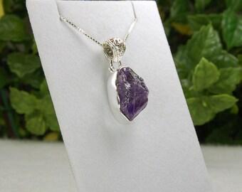 Raw Amethyst Pendant, Amethyst Crystal, Purple Amethyst, Raw Purple Amethyst, Natural Amethyst, February Birthstone, Amethyst Necklace
