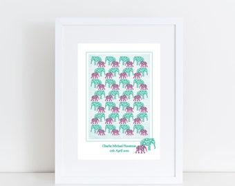 Elephant Walk Nursery Print