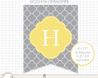 """Printable Pennant - Quatrefoil Gray and Yellow (Grey) A-Z & 0-9 Symbols 6"""" x 7.5"""" Rectangle - Create any message!"""