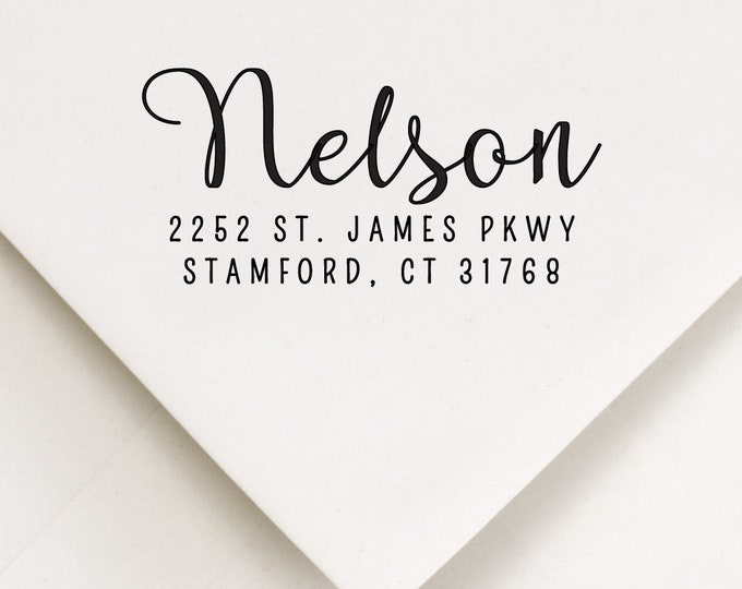 Featured listing image: Calligraphy Addressing Stamp, Self Ink Address, New Home Stamp, Modern Type, Return Mail Stamp, Address Supplies, Personalized Stamp (110)