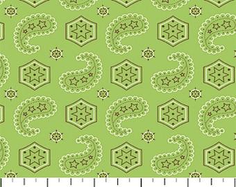 Green Bandana Paisley Fabric, Northcott 3527 Giddy Up, Janet Selck, Paisley Cotton, Green Western Quilt Fabric, Cotton, Fat Quarter