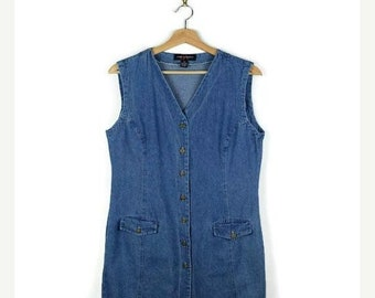 ON SALE Vintage Denim  Sleeveless Button down Mini Dress from 90's