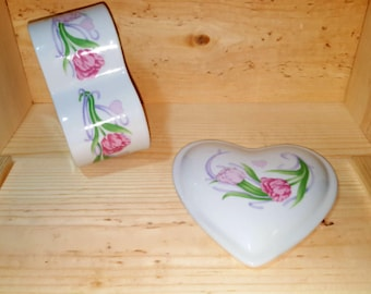 Heart Shaped Ceramic Jewelry Bedroom Storage Box Floral Trinket Jewelry Vintage Container . Shabby Chic Cottage Art Deco Storage Jar & Lid