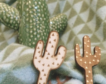 Cactus Brooch Pin Lasercut from wood