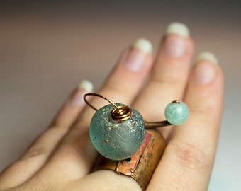 Adjustable Unique Copper Ring with Glass Bead and Prehnite OOAK