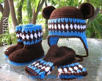 Crochet PATTERN Set -  Bear Hat, Toddler Booties, and Children's Mittens Boys Girls Ear flaps Baby Hat Bear Ears Mittens Brown Winter Set