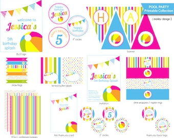 Pool Party Printables Package / DIY Pool Birthday Party / Printable Pool Party Decorations DIY Digital PDFs