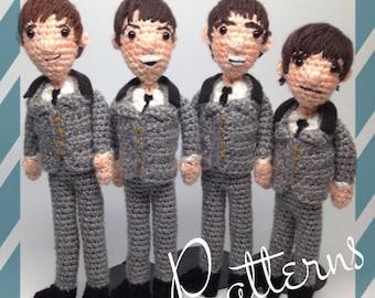 The Beatles Amigurumi Crochet doll dolls Patterns -- John, Paul, George, Ringo Set of Four