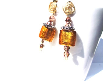 Antique Gold Bead Earrings