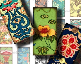 Asian Ornament (15) Digital Collage Sheet - Dominos 1x2 or Bamboo size with Traditional Vibrant antique art from the Far East - see promo