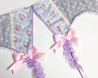 Grey & Light Pink Floral Garter Belt - Pick Your Size - Handmade Vegan Bridal