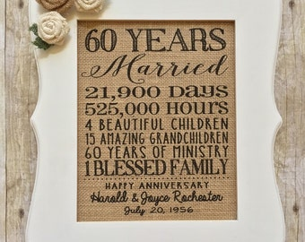 Anniversary Burlap Print // 8x10 // Golden Anniversary// 50th 60th Anniversary // Family // Years Married // Farmhouse Decor // Personalized