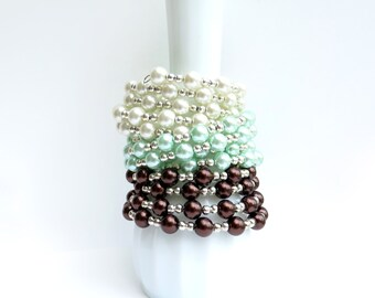 Glass Pearl Memory Wire Bracelet - White Pearl