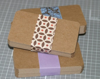 Chipboard Business Card Blanks (100) ... Lightweight Kraft Cards Rounded Corners Rustic Recycled Cardstock Seller Supplies DIY Biz Cards