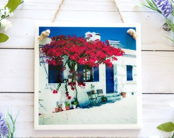 Bathroom wall decor, Greece photography art, ceramic tile art, Mediterranean decor, bathroom art, tile wall hanging, red flower wall art
