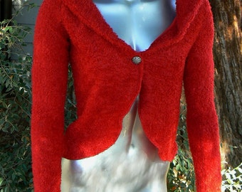 Handmade Red Fuzzy Cardigan - in two sizes