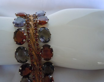 Vintage Beautiful Designer Bracelet Earrings Set Bold Faceted Smokey Gray & Amber Crystals with Gold Mesh
