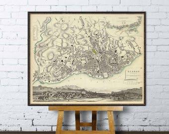 Map of Lisbon - Old map archival  reproduction - Lisboa mapa