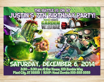 Plants vs Zombies invitation Plants vs Zombies Birthday