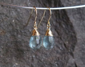 Aquamarine Earrings - March Birthstone - Gold Filled or Sterling Silver