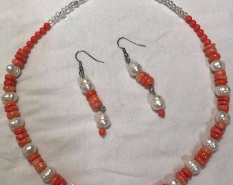 Beach coral and pearls