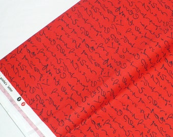 Asian fabric, Red, Black,Michael Miller, OOP, discontinued, 1 YARD, Geisha Letters, cotton, quilt fabric