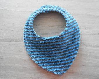 New bib in blue cotton and dark gray striped blue cotton Terry
