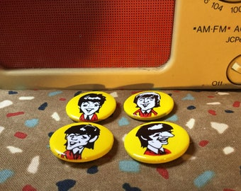 Set of 4 Vintage Beatles Cartoon Caricature Straight Pin Buttons - FREE USA SHIPPING!