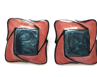 pristine new old stock extra large square 80s 90s vintage blue, rust, and black enameled pierced earrings