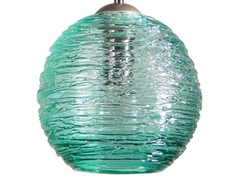 Teal Spun Hand Blown Glass Pendant Hanging Lights  by Rebecca Zhukov