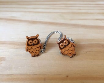 Sweater Pins, Brown Owls, Owl Sweater Pins, Brown Owl Sweater Pins, Owl Collar Pins, Brown Owl Collar Pins, Owl Pins