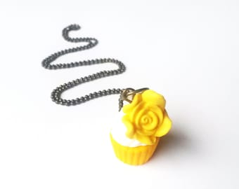 Yellow Cupcake Necklace ( rose cupcake pendant food necklace cute necklace mini food jewelry kawaii jewelry gift for her yellow necklace )
