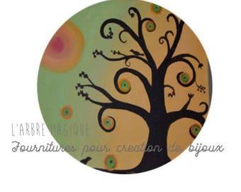 2 cabochons craft tree 3 glass 20 mm N441