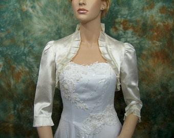 Ivory 3/4 sleeve satin bolero wedding bolero jacket shrug
