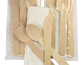 25ct Green Cutlery Kit- Knife, Fork and Spoon with Biodegradable bag and Napkin (Pack of 25)