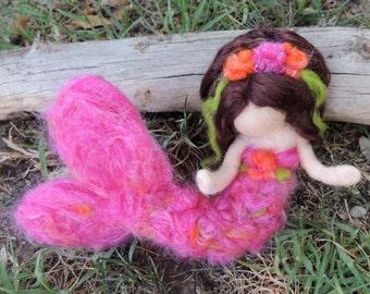 Mermaid and Her Treasure -  Pink Mermaid - Waldorf  Inspired Needle Felted Doll