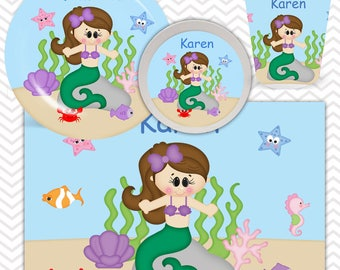 Under the Sea Plate, Bowl, Cup, Placemat - Personalized Princess Dinnerware for Kids - Custom Tableware