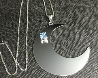 Large Crescent Moon Pendant Necklace, Handmade Crescent Moon Jewelry, Gemstone Moon Pendant, 16 Inch Box Chain .925 Sterling Silver