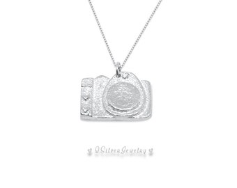 Camera Necklace Handmade Sterling Silver Jewelry - Birthday Christmas Gift for Photographer Girlfriend