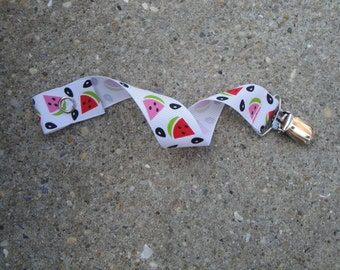 Ribbon Pacifier Clip-Watermelon