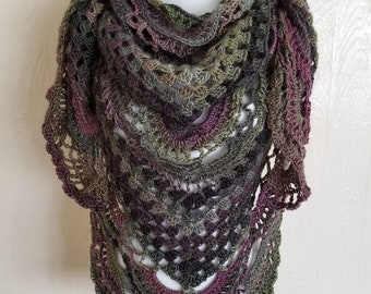 "Handmade Crochet Triangle Shawl Wrap ""Forest"""