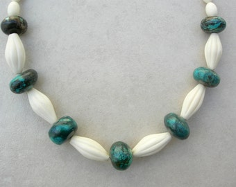 SALE - 50% off, Real Turquoise & Fancy Bone Beads, Choker Necklace by SandraDesigns